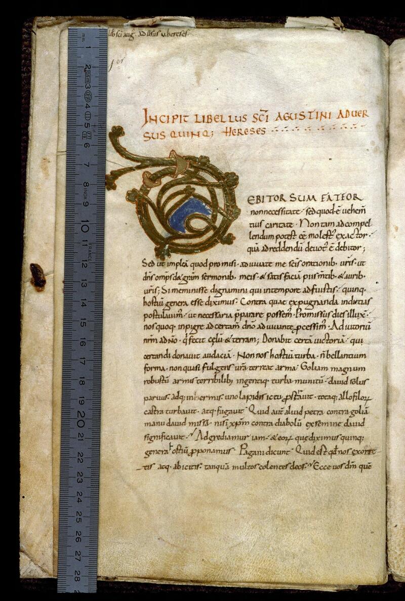 Angers, Bibl. mun., ms. 0180, f. 001v - vue 1