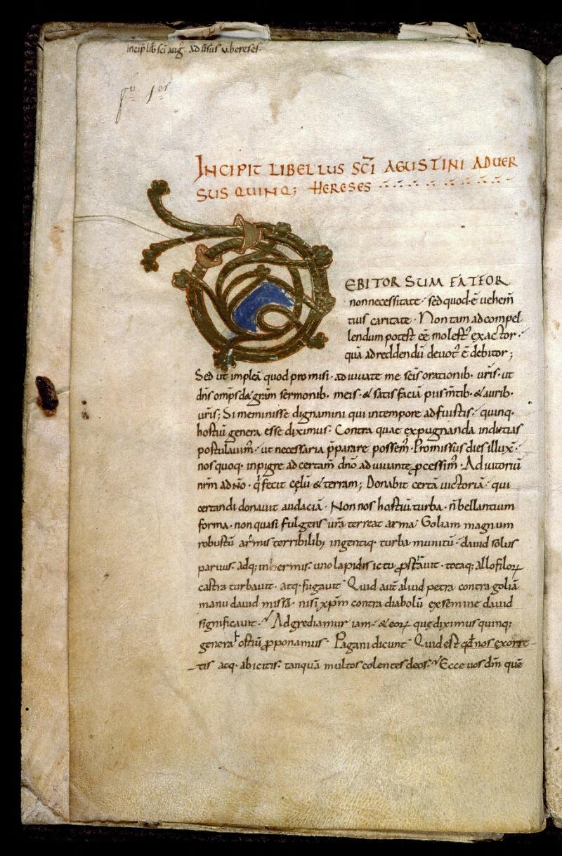 Angers, Bibl. mun., ms. 0180, f. 001v - vue 2