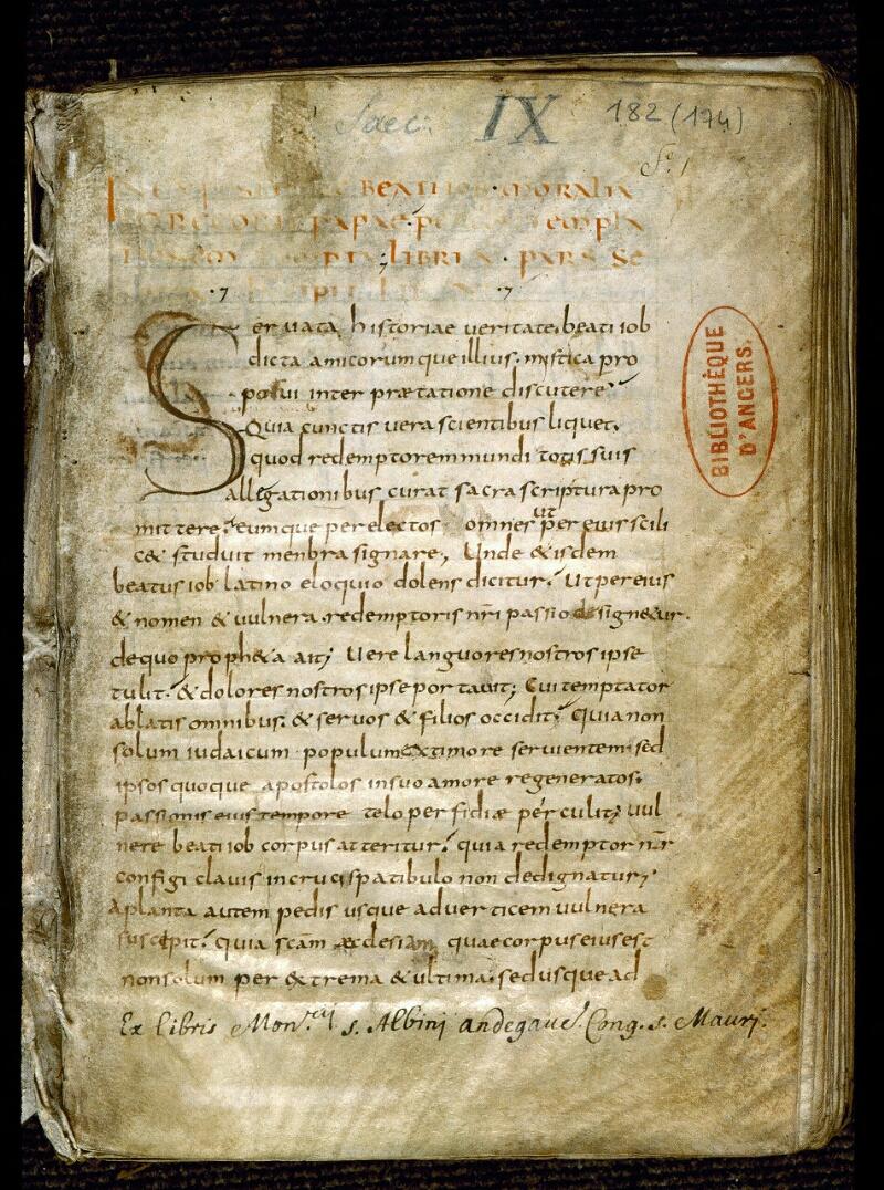 Angers, Bibl. mun., ms. 0182, f. 001 - vue 2