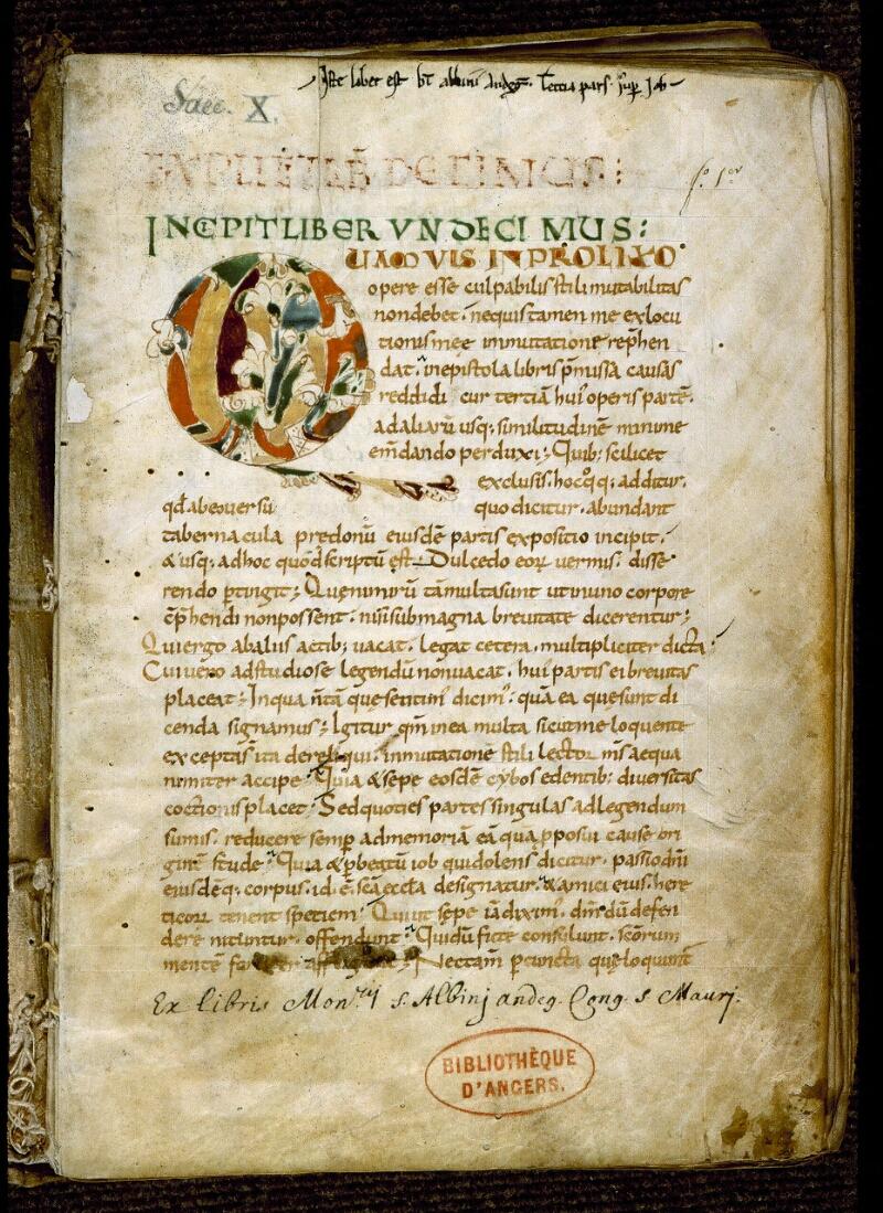 Angers, Bibl. mun., ms. 0185, f. 001 - vue 2