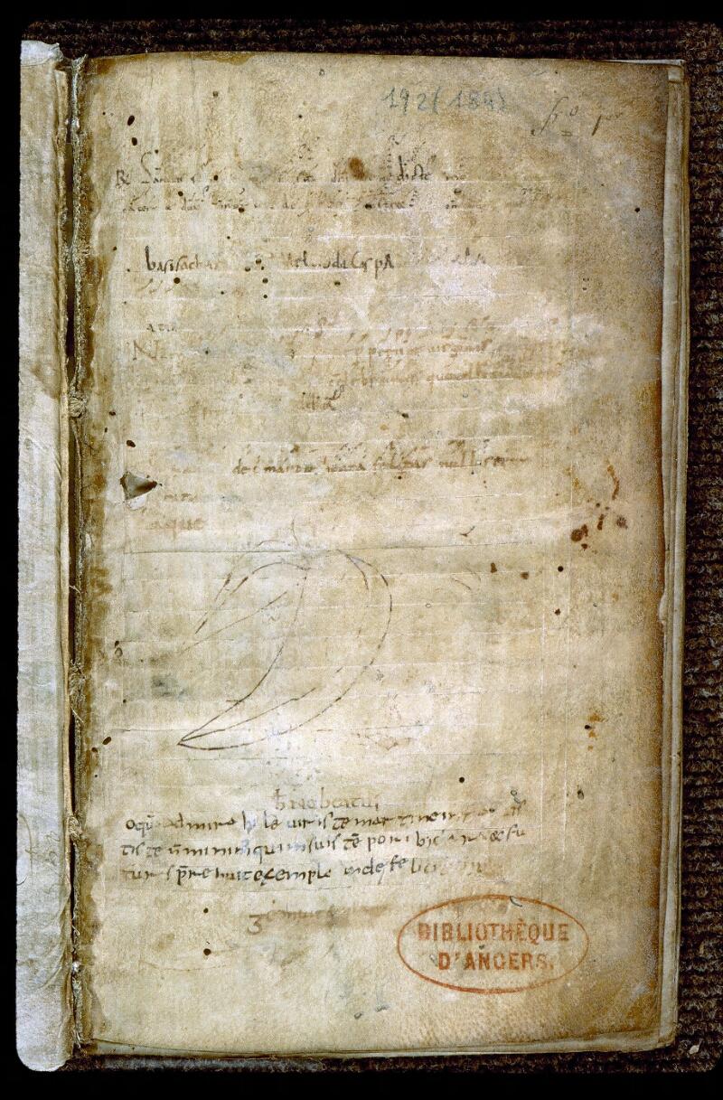 Angers, Bibl. mun., ms. 0192, f. 001 - vue 2