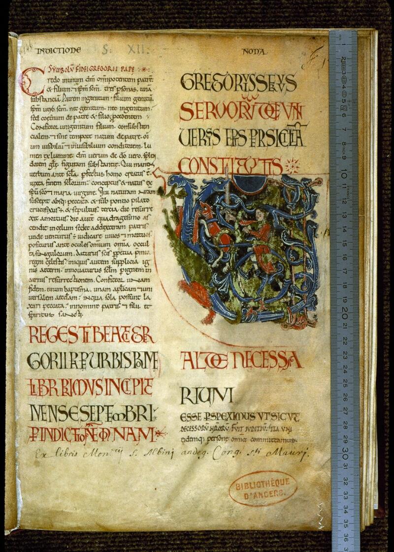 Angers, Bibl. mun., ms. 0194, f. 001 - vue 1