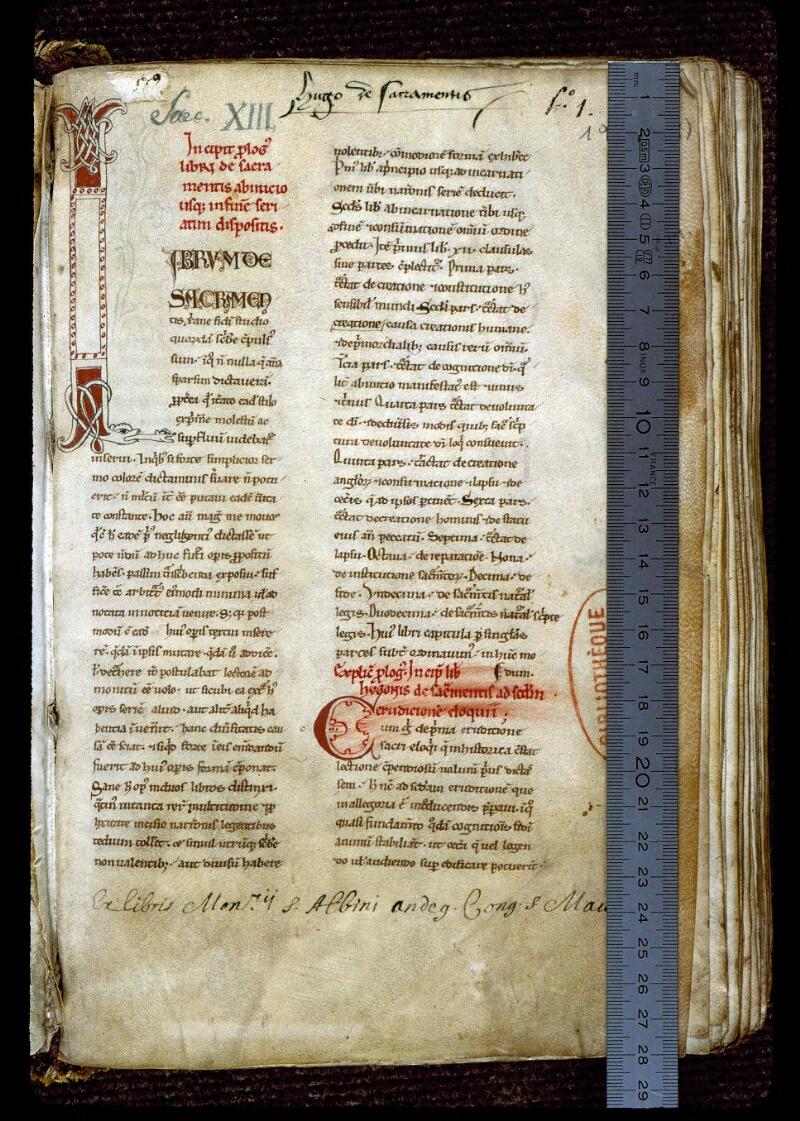 Angers, Bibl. mun., ms. 0196, f. 001 - vue 1