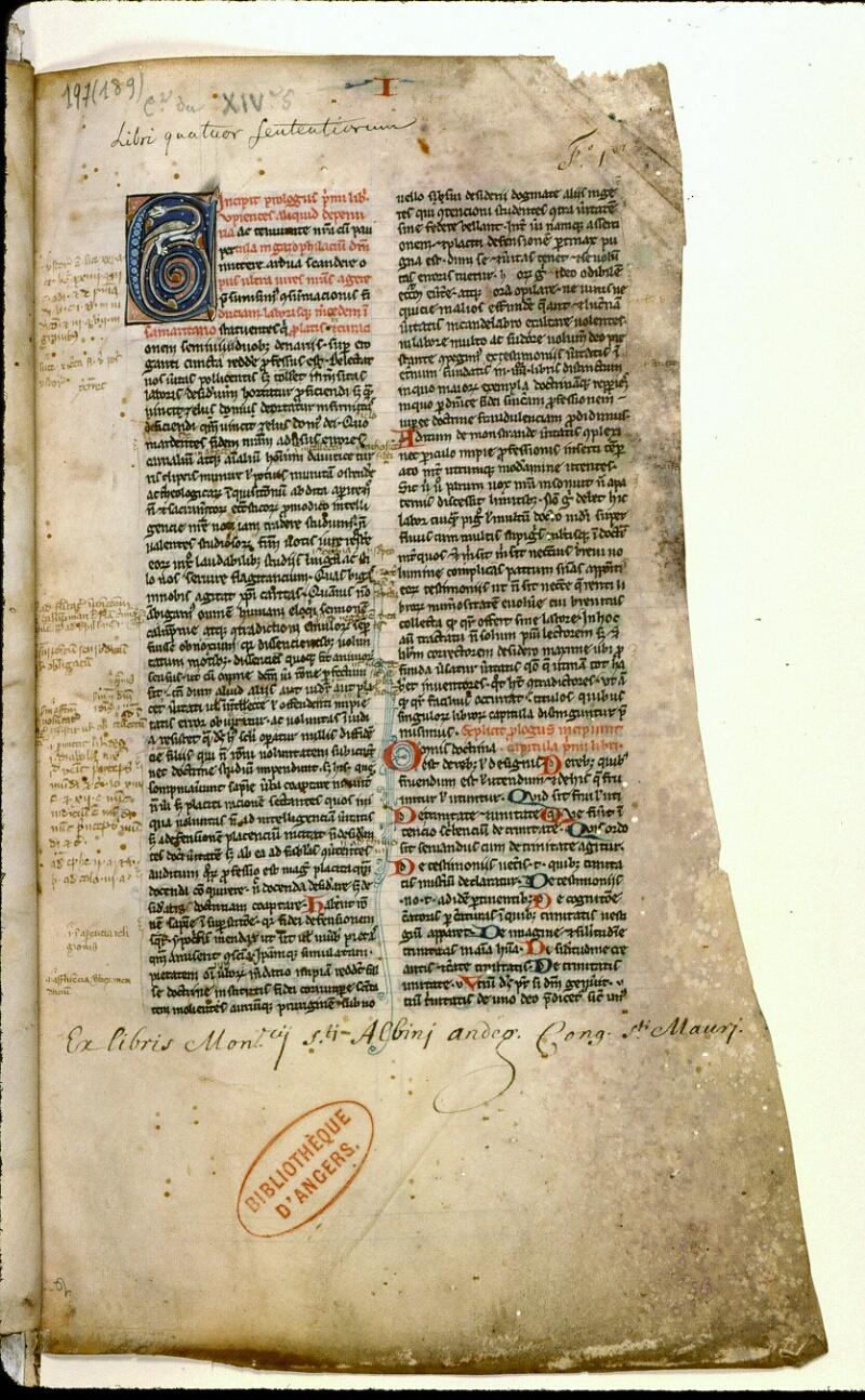 Angers, Bibl. mun., ms. 0197, f. 001 - vue 2
