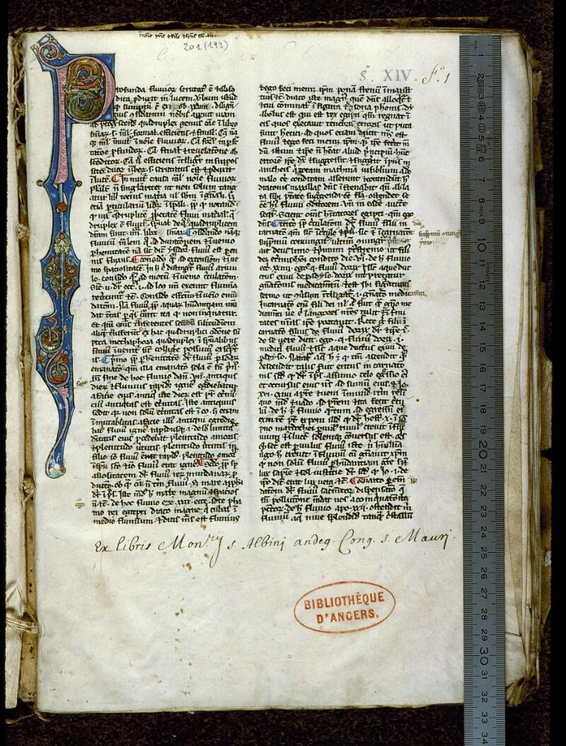 Angers, Bibl. mun., ms. 0201, f. 001 - vue 1