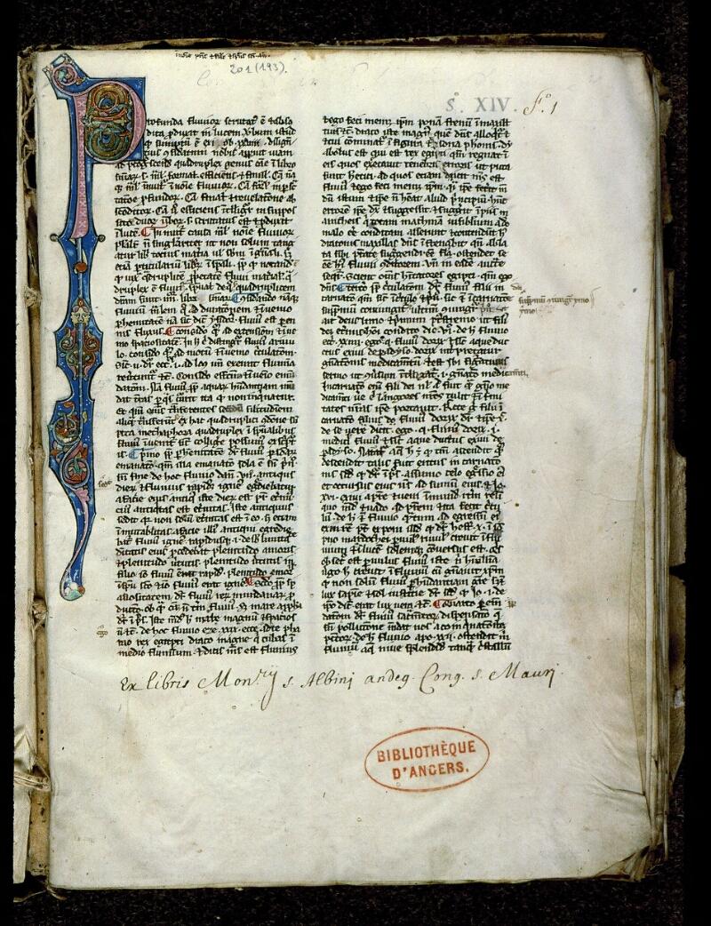 Angers, Bibl. mun., ms. 0201, f. 001 - vue 2