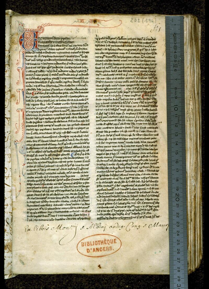 Angers, Bibl. mun., ms. 0202, f. 001 - vue 1