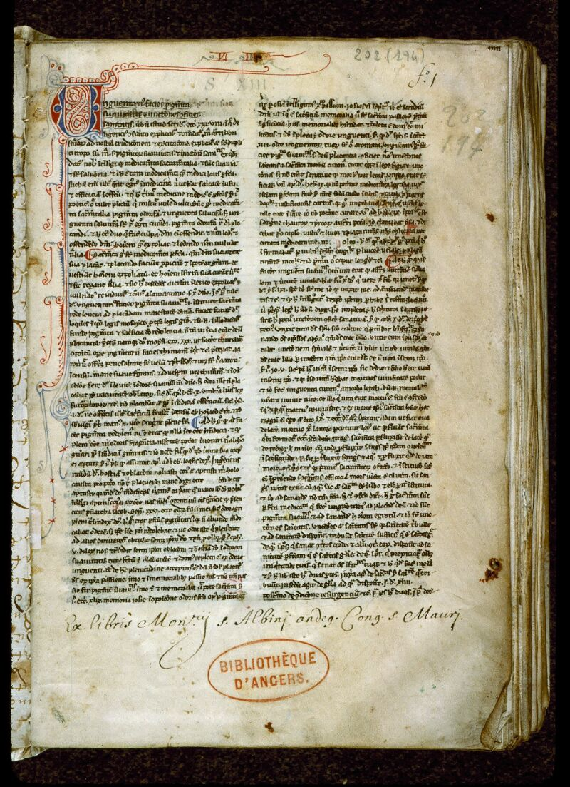 Angers, Bibl. mun., ms. 0202, f. 001 - vue 2
