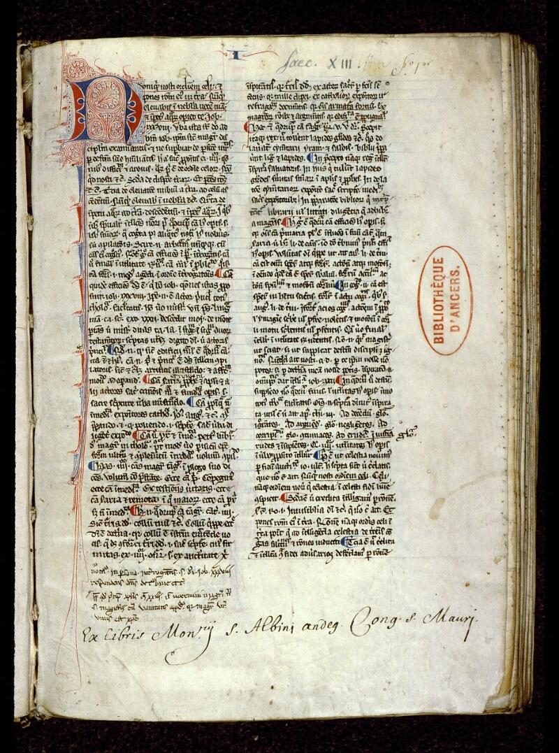 Angers, Bibl. mun., ms. 0203, f. 001 - vue 2