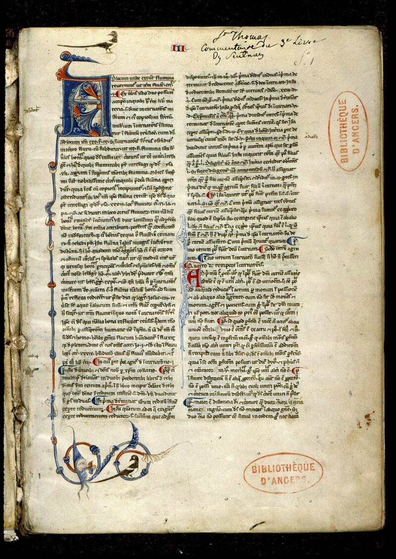 Angers, Bibl. mun., ms. 0206, f. 001 - vue 2