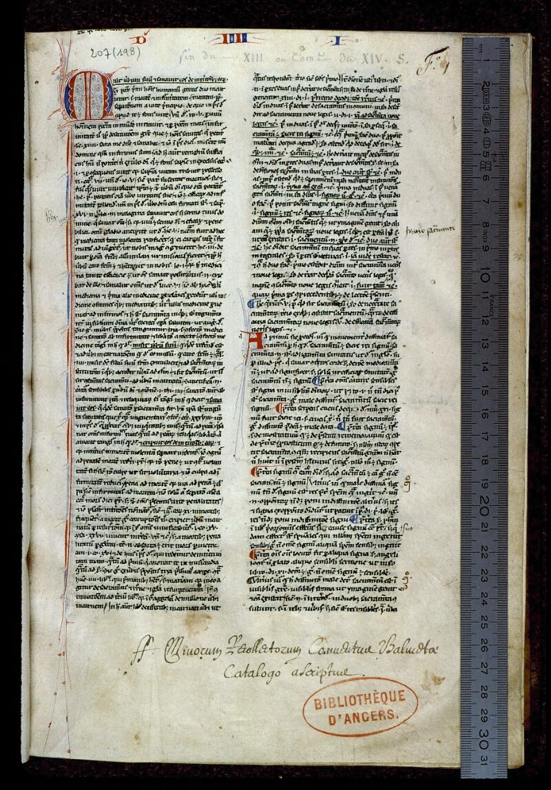 Angers, Bibl. mun., ms. 0207, f. 001 - vue 1