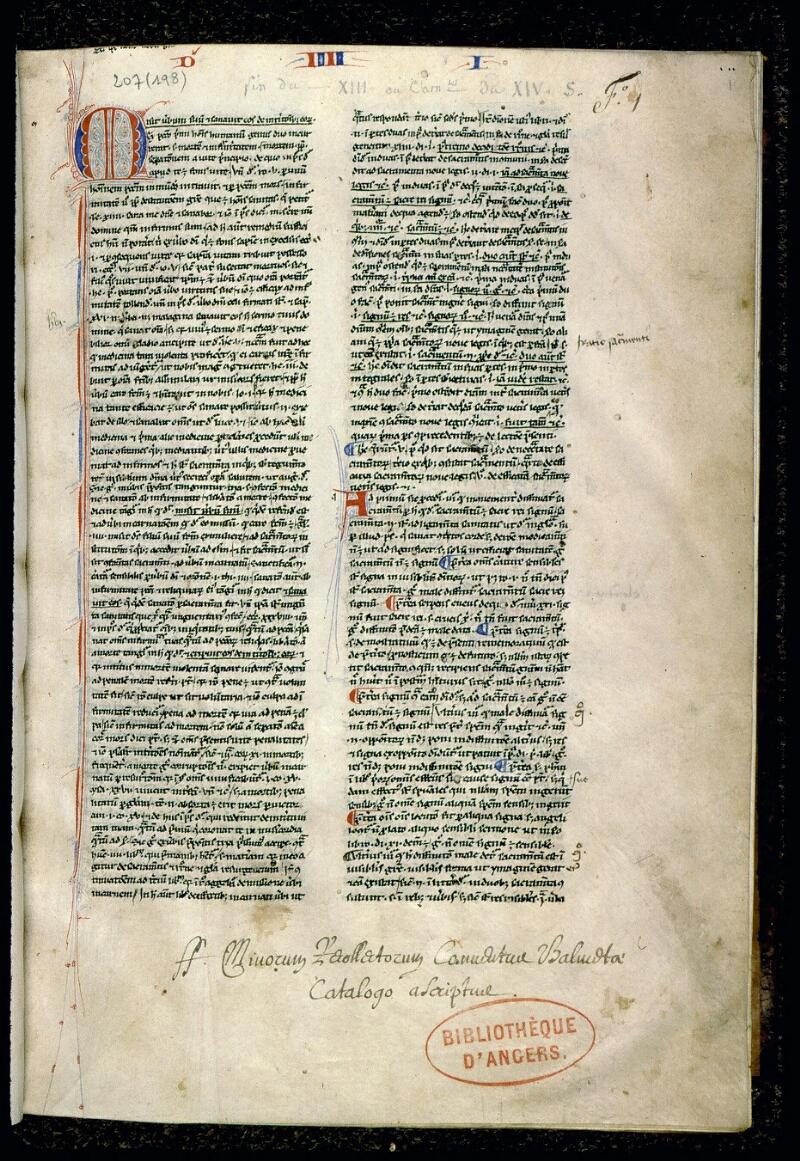 Angers, Bibl. mun., ms. 0207, f. 001 - vue 2