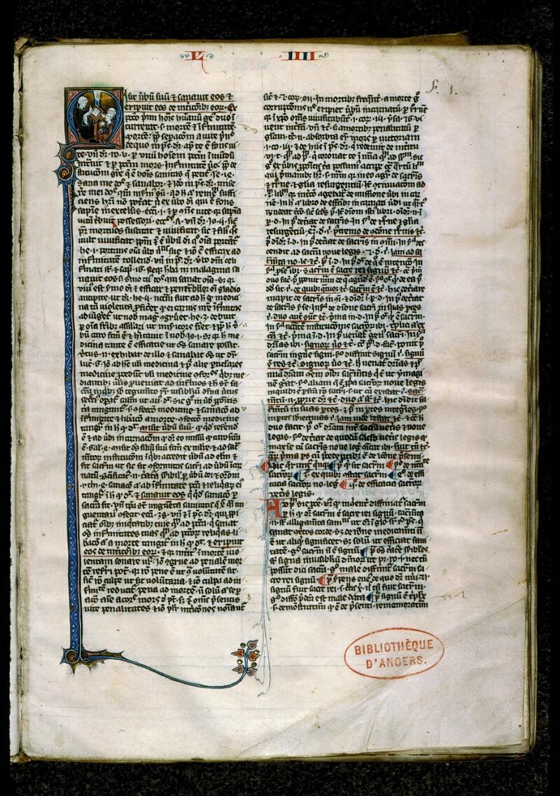 Angers, Bibl. mun., ms. 0208, f. 001 - vue 2