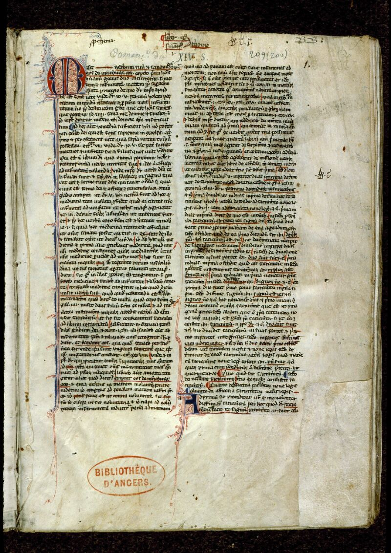 Angers, Bibl. mun., ms. 0209, f. 001 - vue 2
