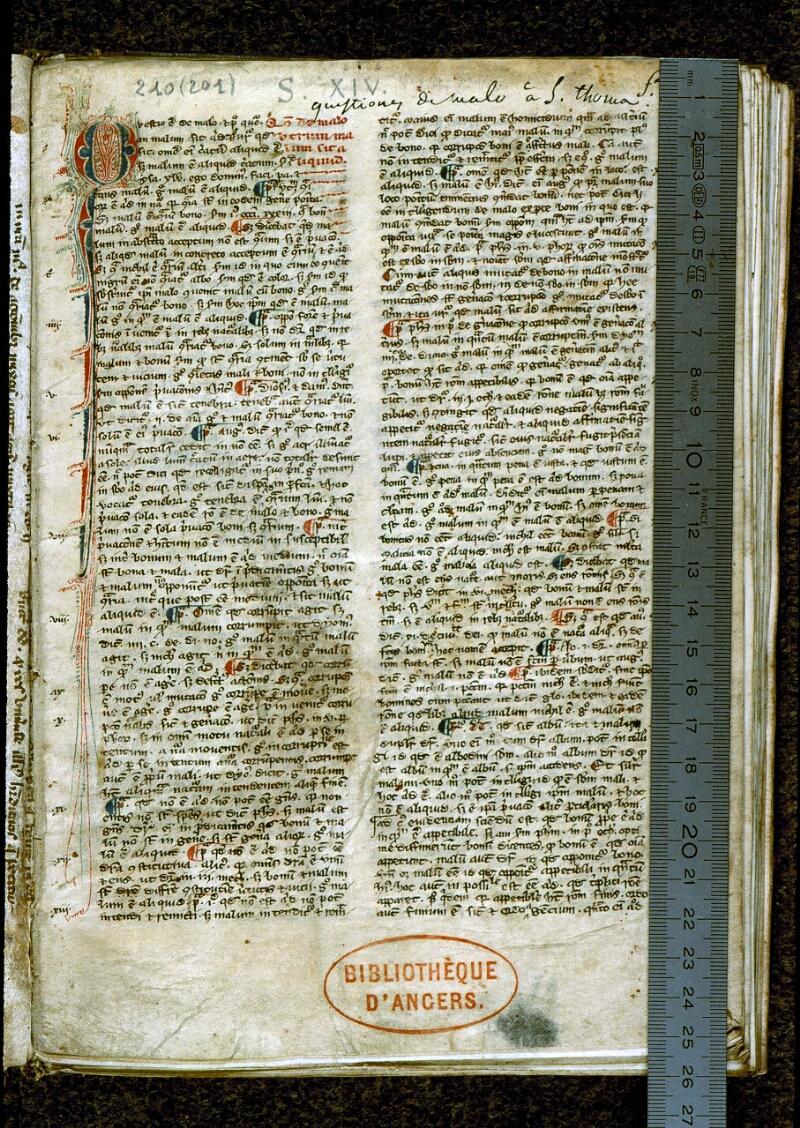 Angers, Bibl. mun., ms. 0210, f. 001 - vue 1