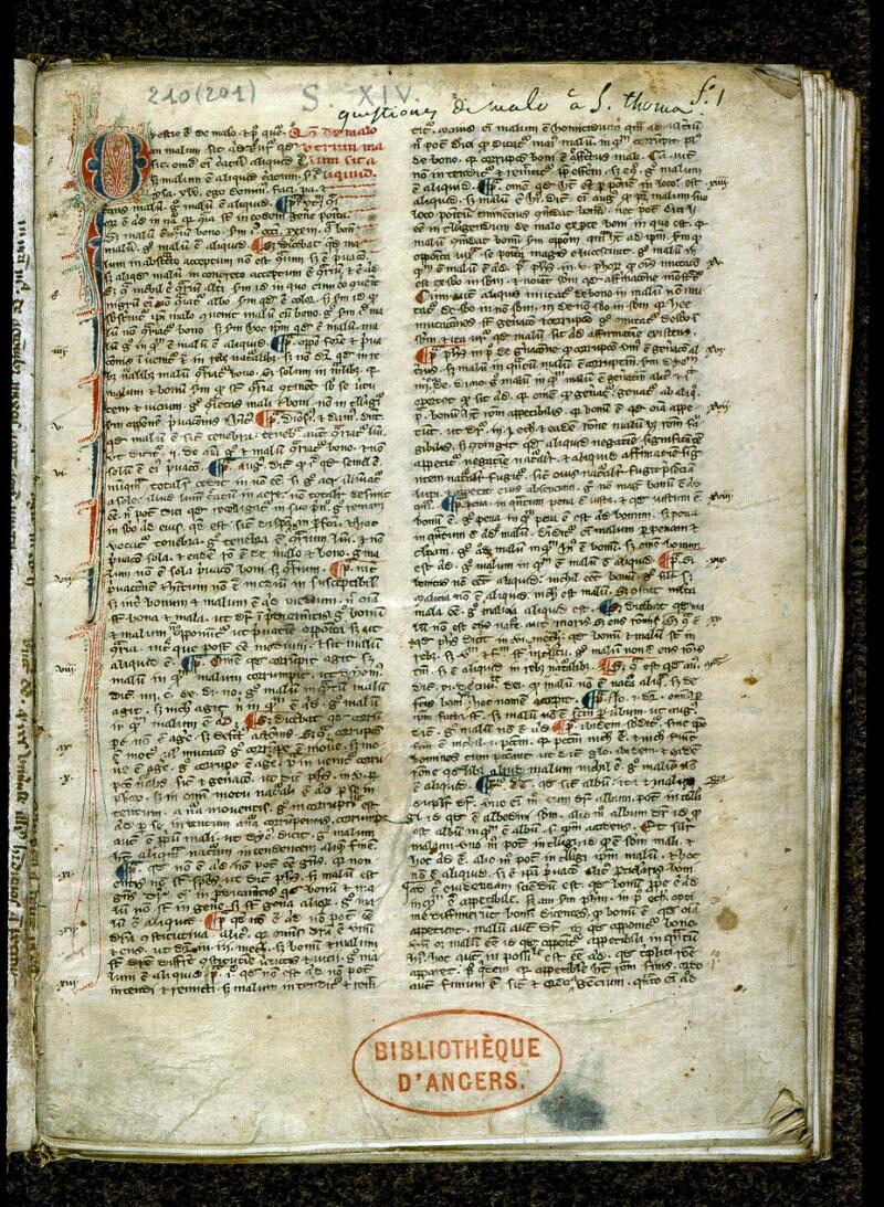 Angers, Bibl. mun., ms. 0210, f. 001 - vue 2