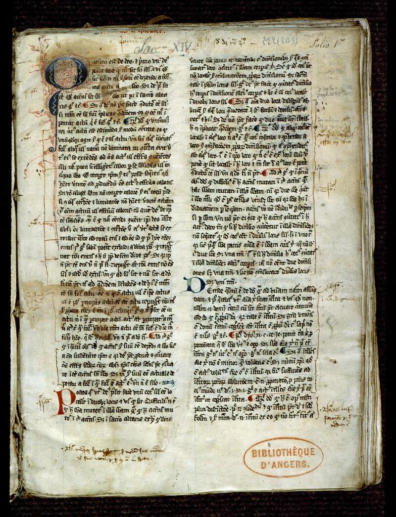 Angers, Bibl. mun., ms. 0212, f. 001 - vue 2