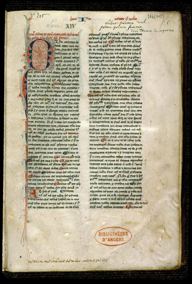 Angers, Bibl. mun., ms. 0214, f. 001 - vue 2