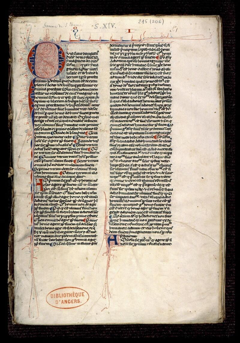 Angers, Bibl. mun., ms. 0215, f. 001 - vue 2