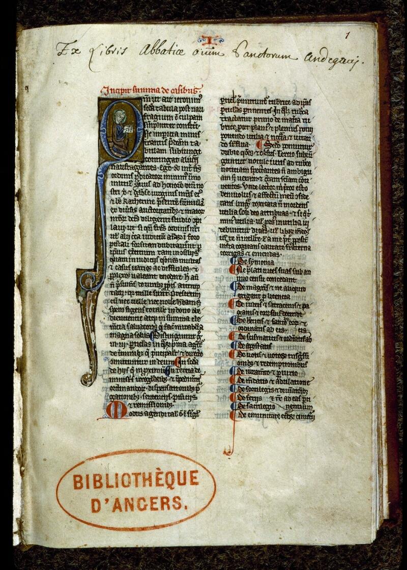 Angers, Bibl. mun., ms. 0220, f. 001 - vue 2