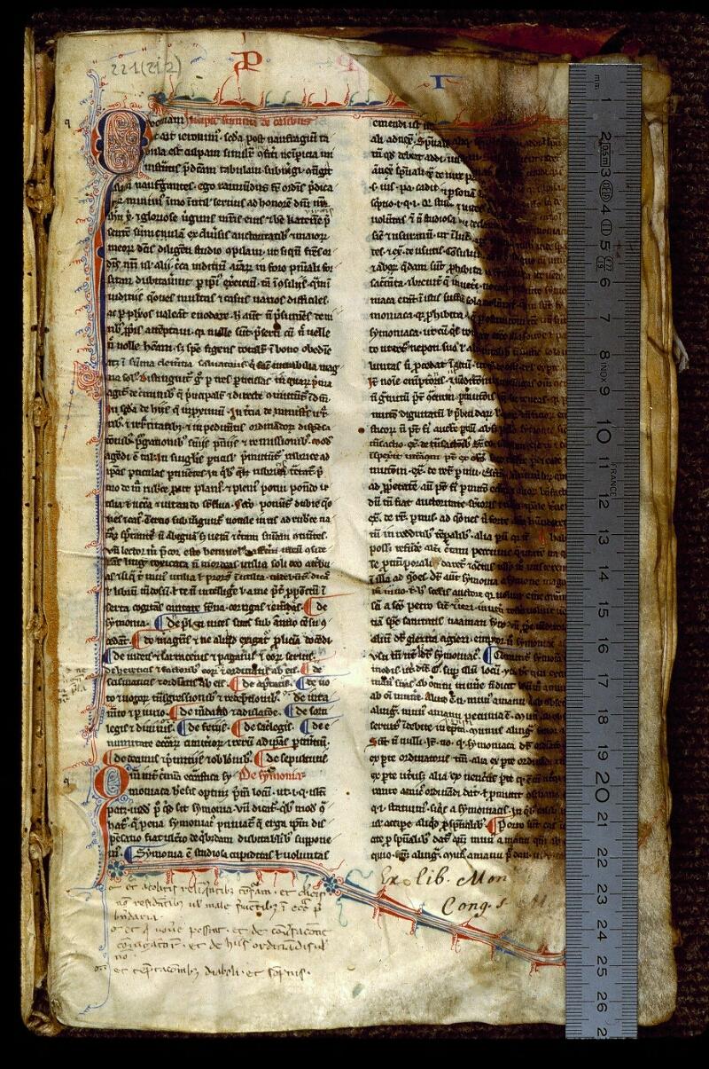 Angers, Bibl. mun., ms. 0221, f. 001 - vue 1