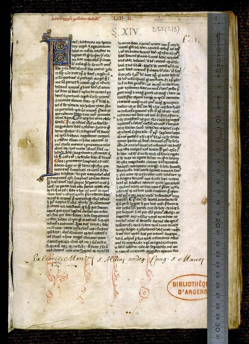 Angers, Bibl. mun., ms. 0222, f. 001 - vue 1