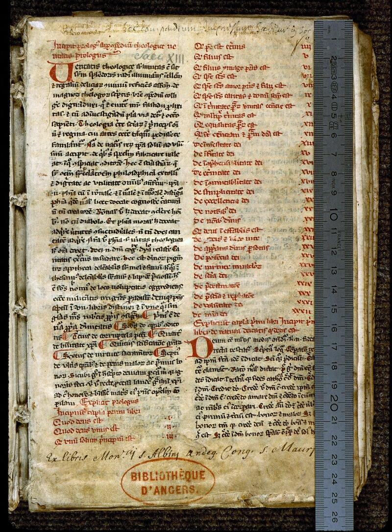 Angers, Bibl. mun., ms. 0224, f. 001 - vue 1