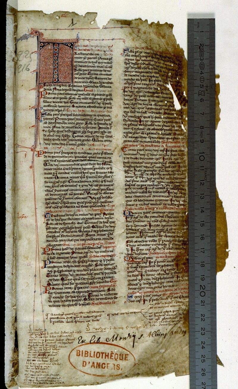 Angers, Bibl. mun., ms. 0225, f. 001 - vue 1