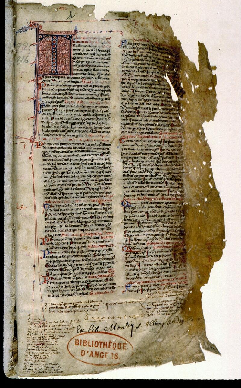 Angers, Bibl. mun., ms. 0225, f. 001 - vue 2