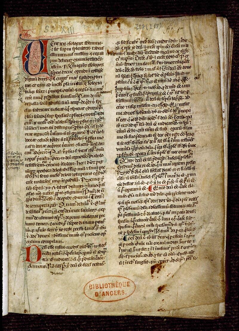 Angers, Bibl. mun., ms. 0227, f. 001 - vue 2