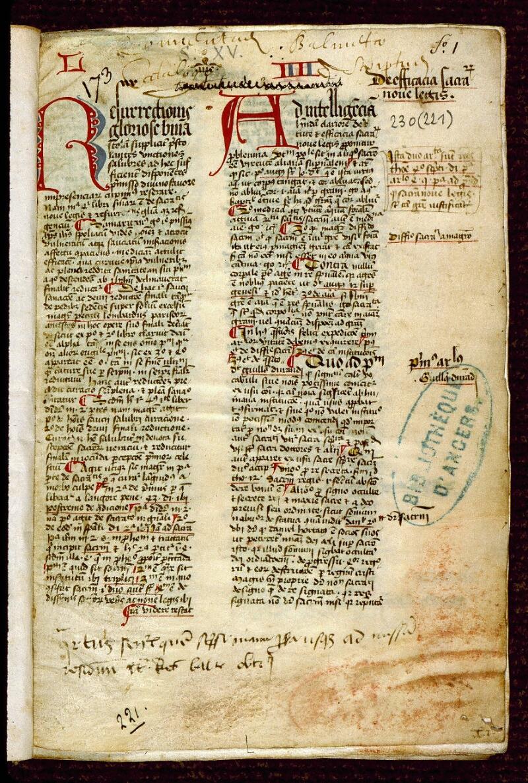 Angers, Bibl. mun., ms. 0230, f. 001 - vue 2