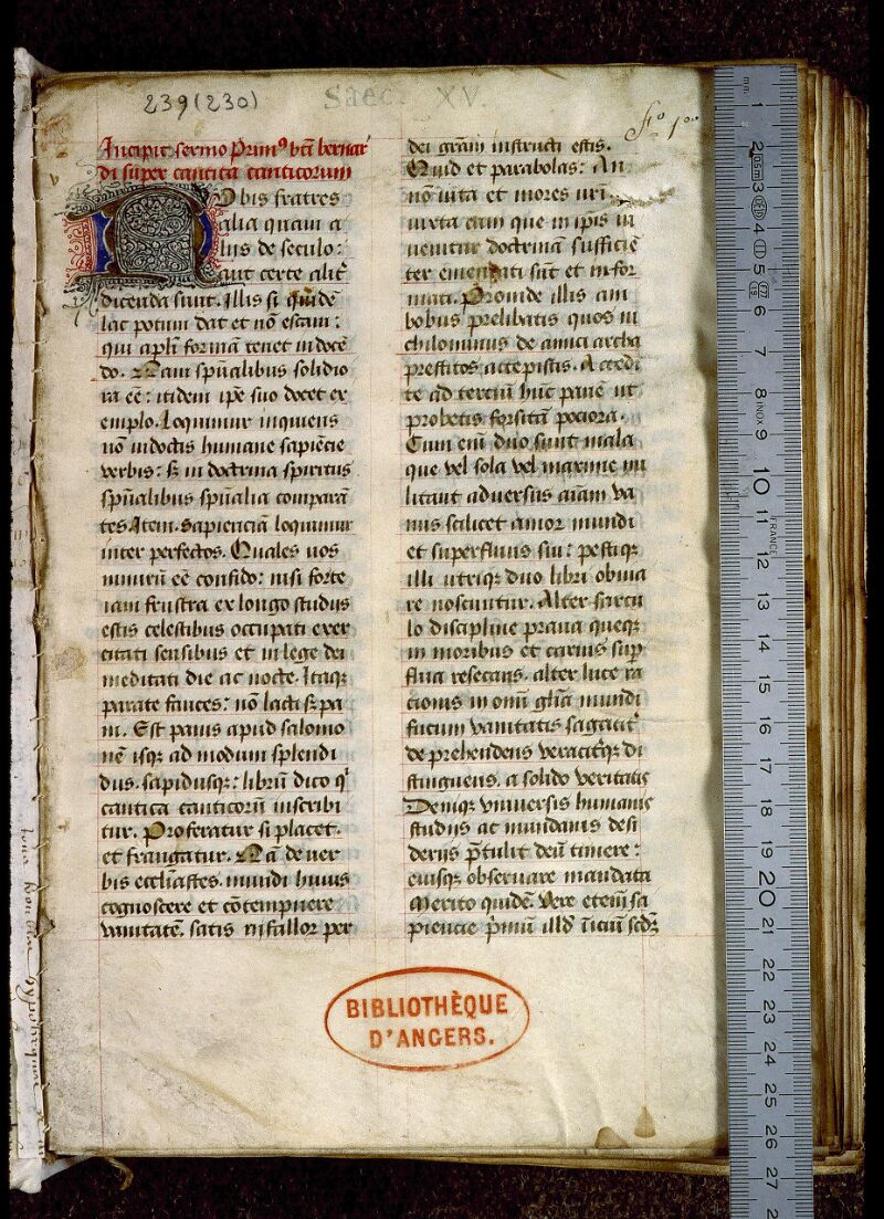 Angers, Bibl. mun., ms. 0239, f. 001 - vue 1