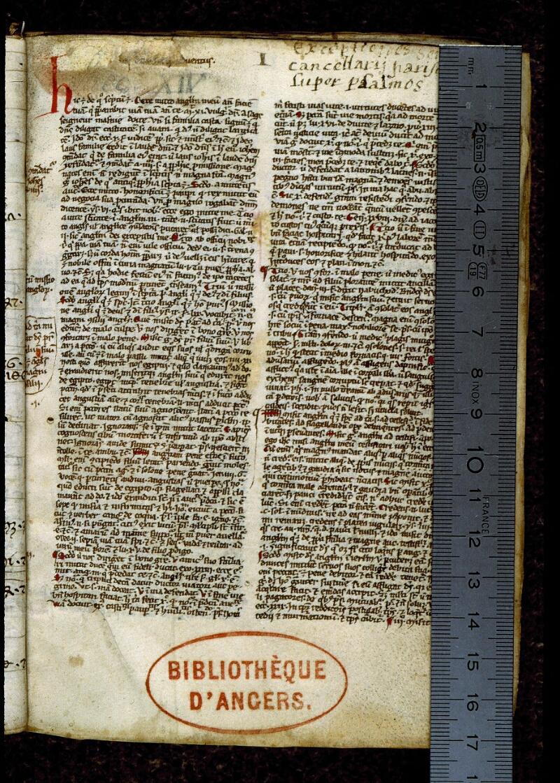 Angers, Bibl. mun., ms. 0249, p. 001 - vue 1