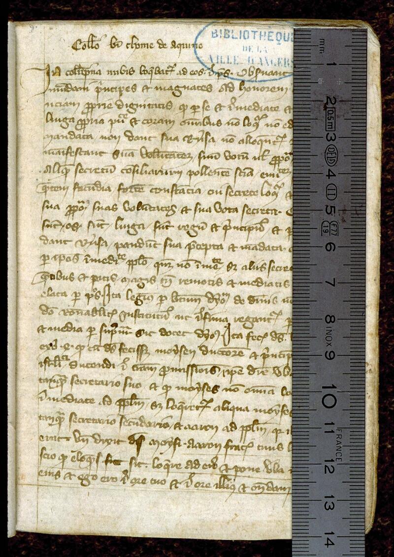 Angers, Bibl. mun., ms. 0256, f. 001 - vue 1