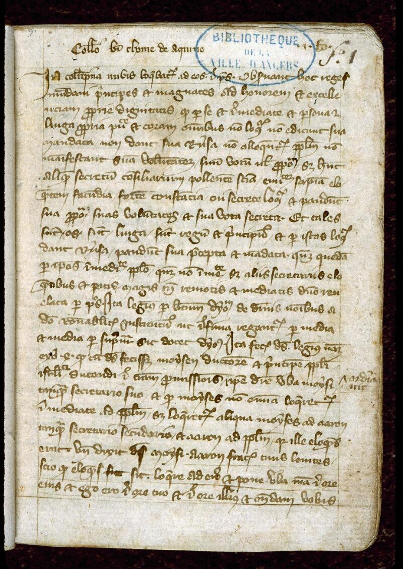 Angers, Bibl. mun., ms. 0256, f. 001 - vue 2