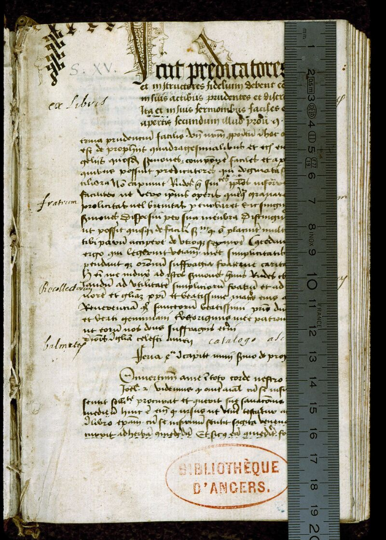 Angers, Bibl. mun., ms. 0257, f. 001 - vue 1