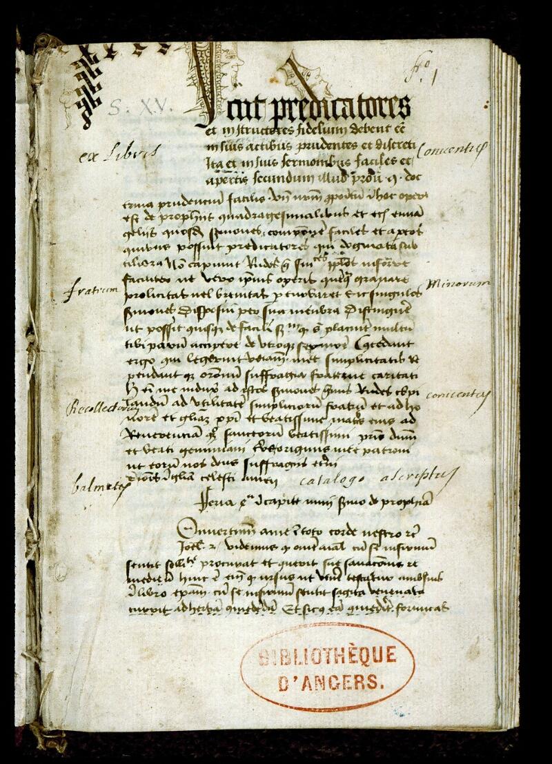 Angers, Bibl. mun., ms. 0257, f. 001 - vue 2