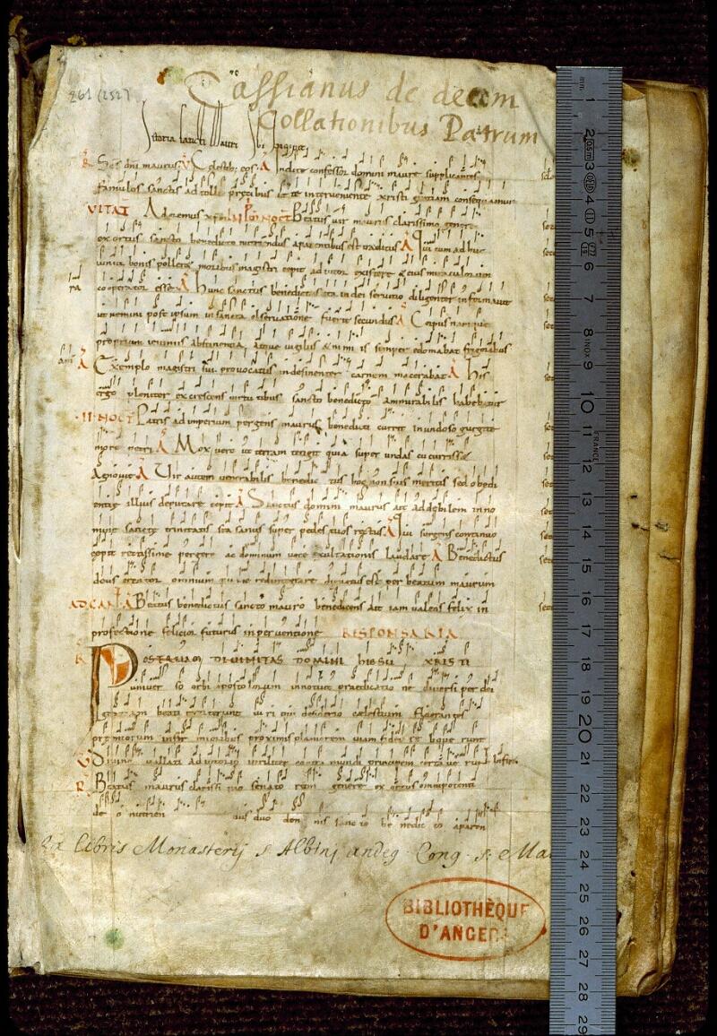 Angers, Bibl. mun., ms. 0261, f. 000I - vue 1