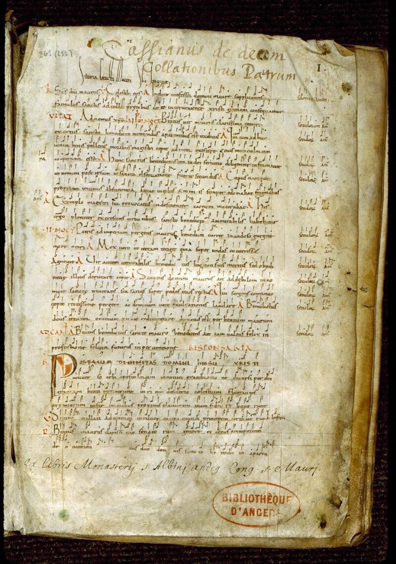 Angers, Bibl. mun., ms. 0261, f. 000I - vue 2