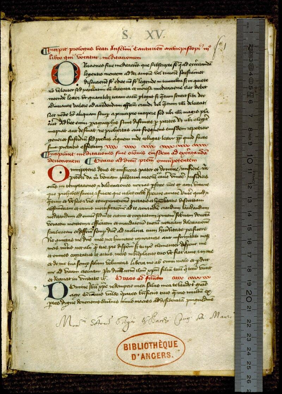 Angers, Bibl. mun., ms. 0262, f. 001 - vue 1