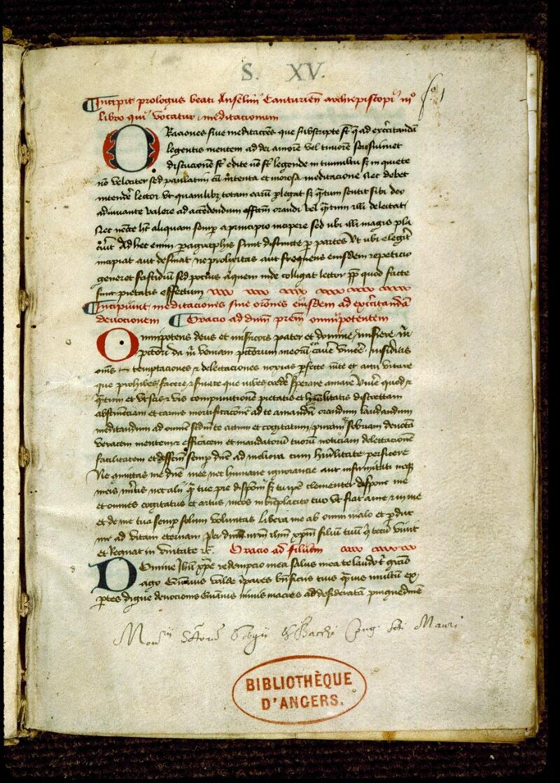 Angers, Bibl. mun., ms. 0262, f. 001 - vue 2