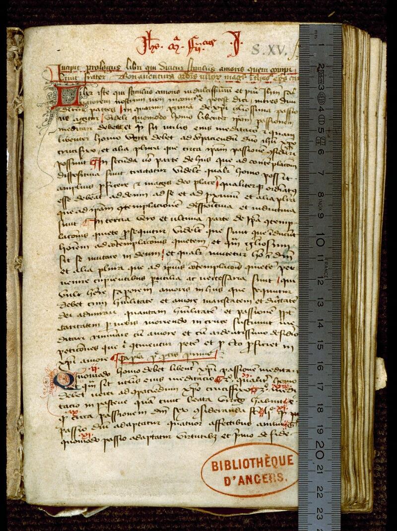 Angers, Bibl. mun., ms. 0263, f. 001 - vue 1