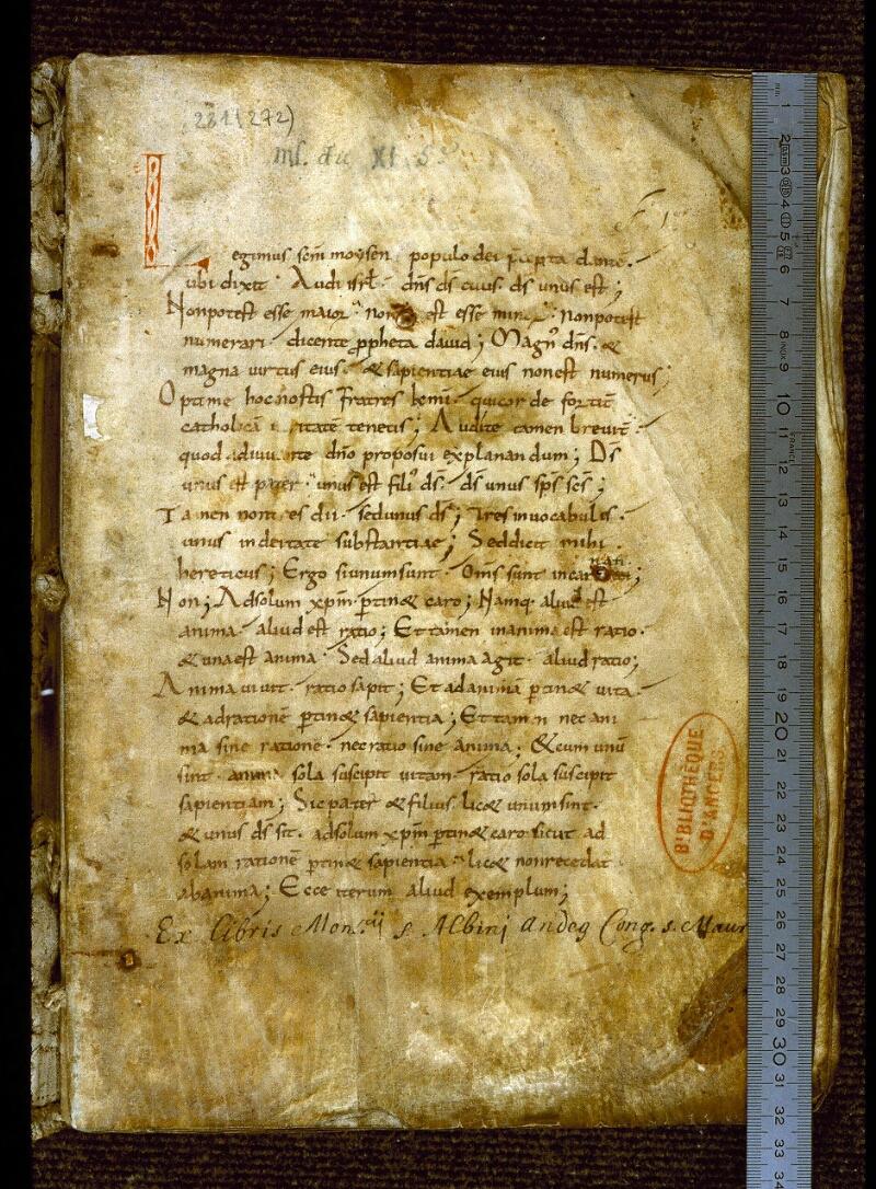 Angers, Bibl. mun., ms. 0281, f. 001 - vue 1