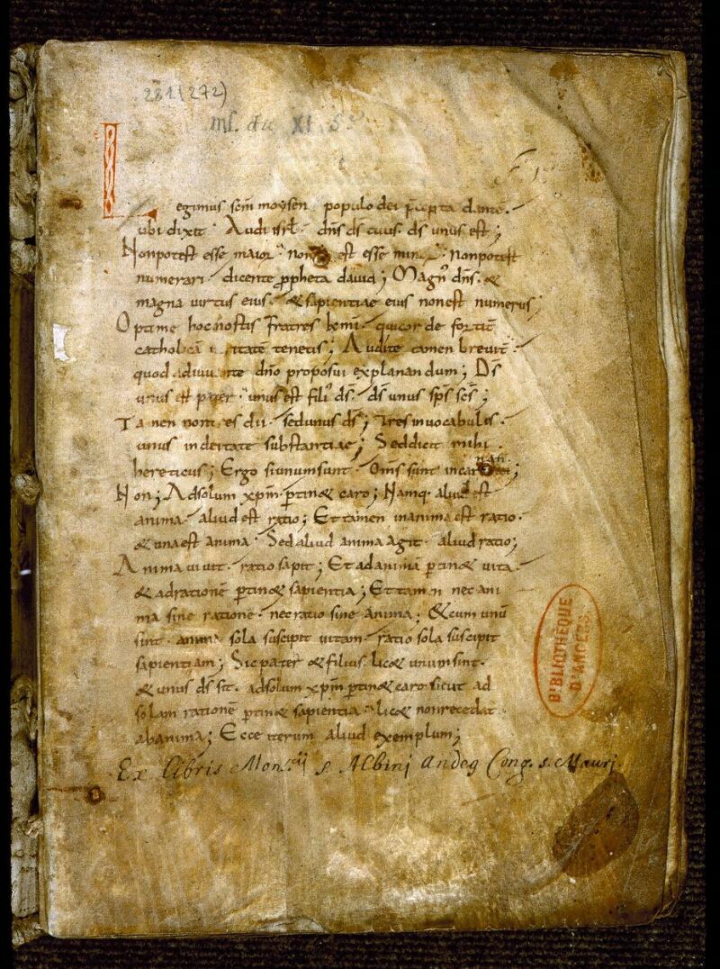 Angers, Bibl. mun., ms. 0281, f. 001 - vue 2