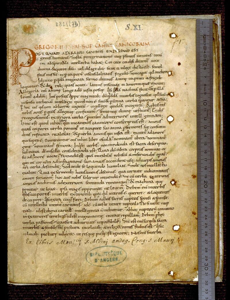 Angers, Bibl. mun., ms. 0282, f. 001 - vue 1
