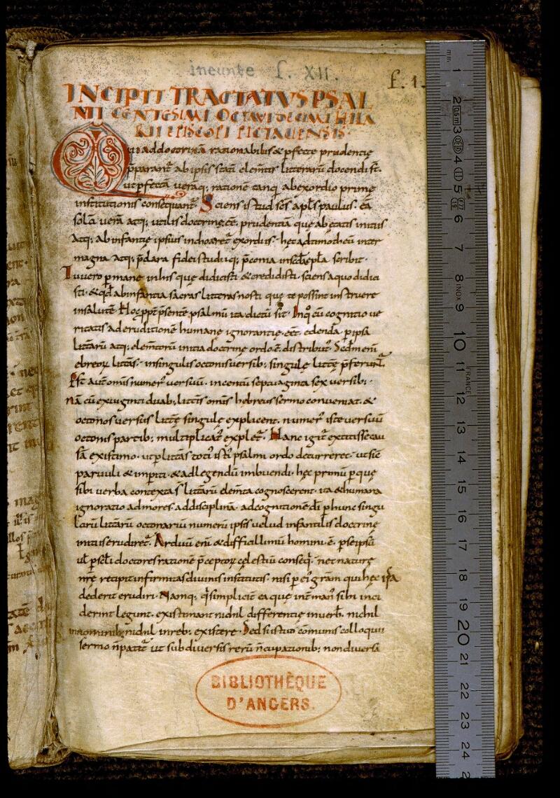 Angers, Bibl. mun., ms. 0289, f. 001 - vue 1
