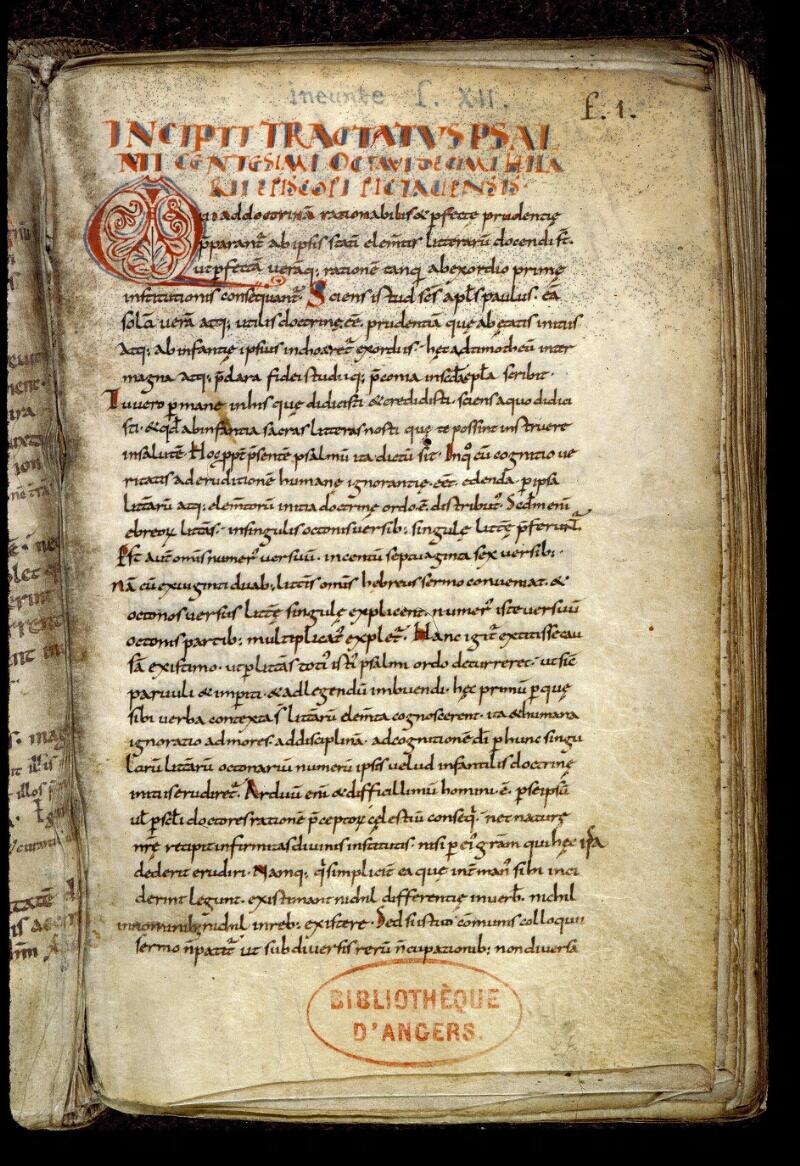 Angers, Bibl. mun., ms. 0289, f. 001 - vue 2