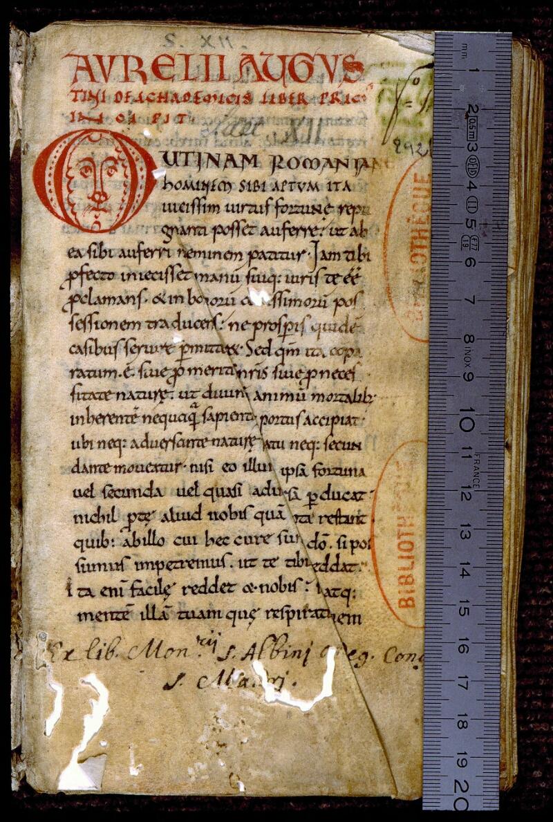 Angers, Bibl. mun., ms. 0292, f. 001 - vue 1