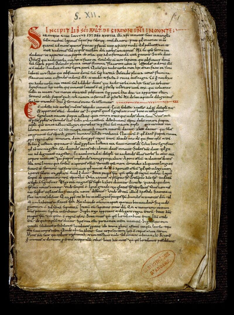 Angers, Bibl. mun., ms. 0293, f. 001 - vue 2