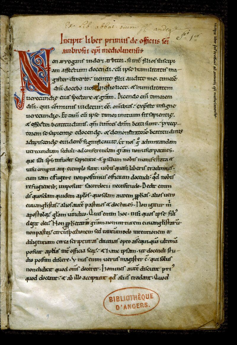 Angers, Bibl. mun., ms. 0296, f. 001 - vue 2